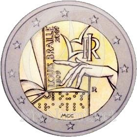 2 Euro Commemorativi Italia 2009 Louis Braille
