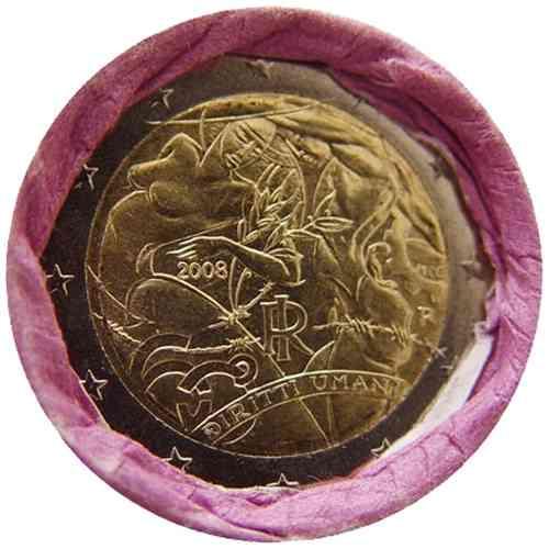 a246b6cc54 2 Euro Italia 2008 Diritti dell'uomo Rotolino - Romacoins