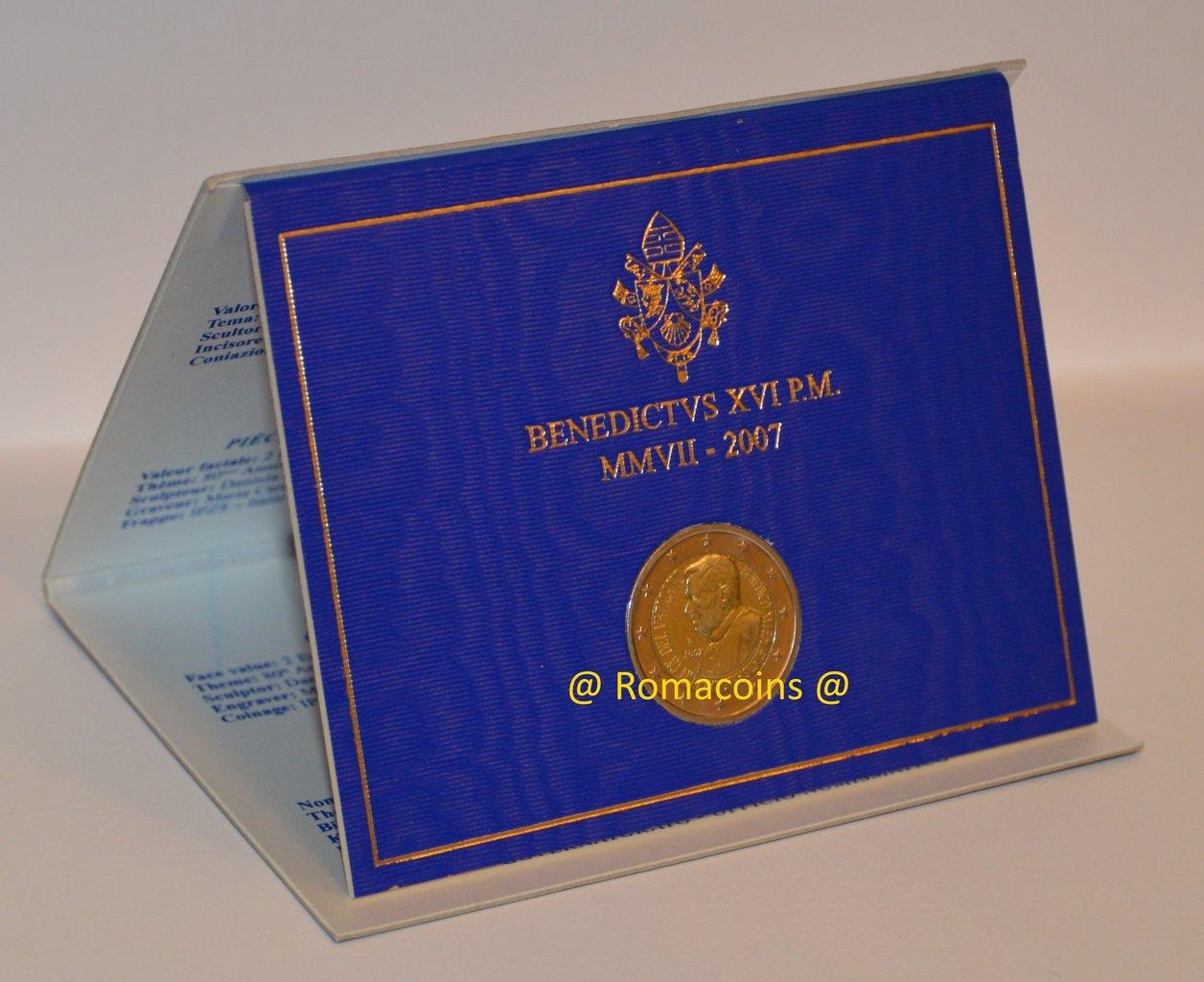Moneda Conmemorativa 2 Euros Vaticano 2007 Oficial Fdc
