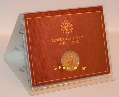 2 Euro Commemorativi Vaticano 2008 in Folder Fdc
