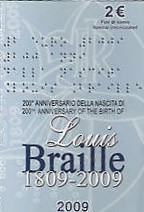 2 Euro Sondermünze Italien 2009 Louis Braille Folder