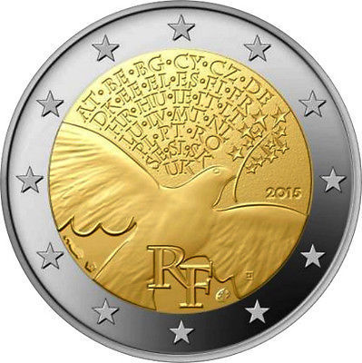 """2015 France 2 Euro Uncirculated Coin /""""Peace in Europe 70 Years/"""""""
