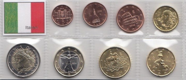 Kursmünzensatz Italien 2014 8 Münzen 1 Cent 2 Euro Romacoins