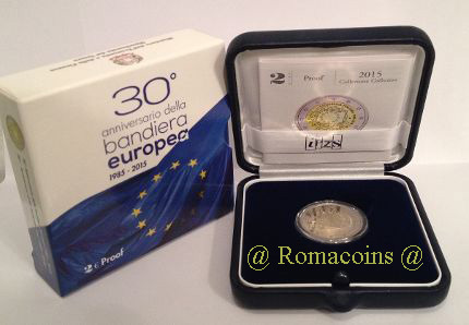 2 Euro Italy 2015 Proof 30 Years European Flag