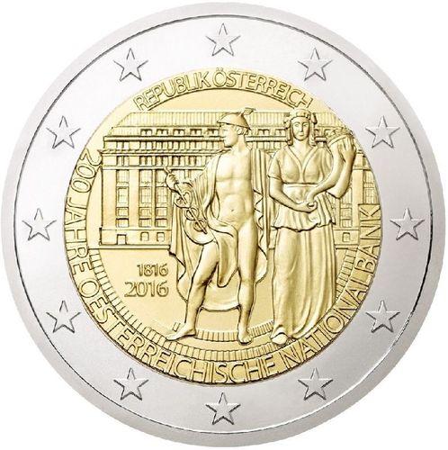 2 Euro österreich 2016 200 Jahrestag Der Nationalbank Romacoins