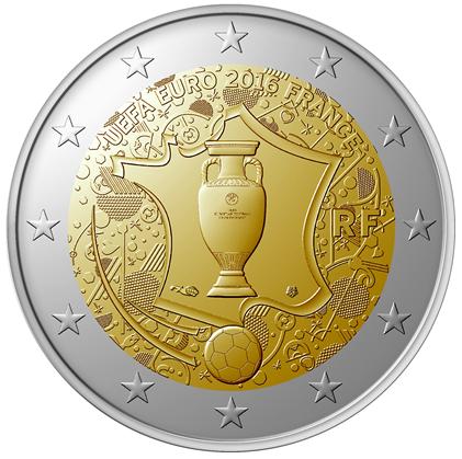 """EUROCOPA DE FUTBOL 2016 *UNC* FRANCIA 2 EURO 2016 CONMEMORATIVA /""""UEFA"""