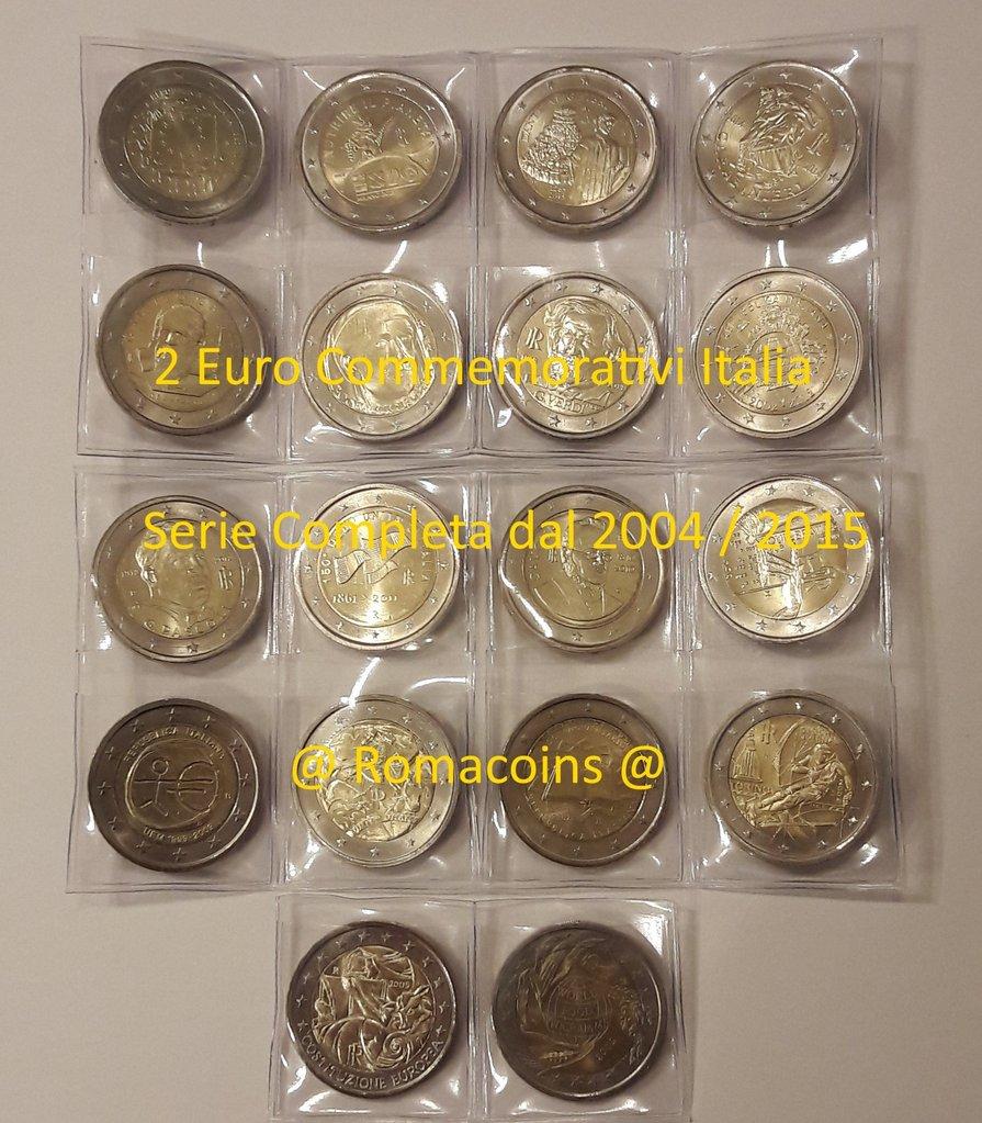 Komplettsatz 2 Euro Italien 2004 2015 18 Sondermünzen Romacoins