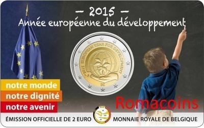 Coincard 2 Euro Belgio 2015 European Year Development Francese