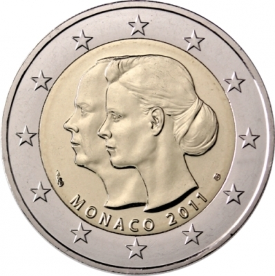 2 euro commemorative coin monaco 2011 wedding romacoins. Black Bedroom Furniture Sets. Home Design Ideas