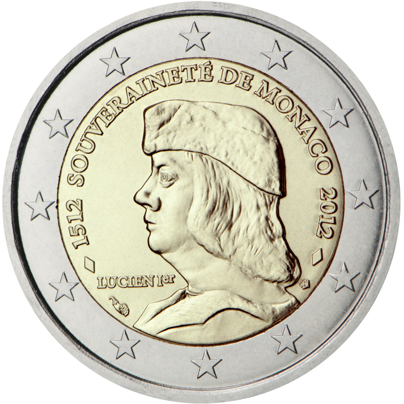 2 euro commemorative coin monaco 2012 sovereignty romacoins. Black Bedroom Furniture Sets. Home Design Ideas