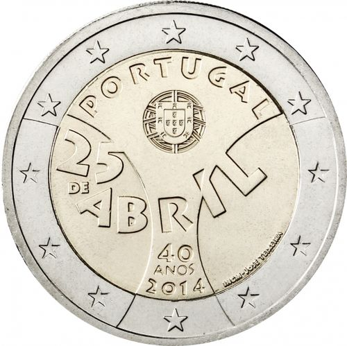 2 Euro Commemorativi Portogallo 2014 Moneta 25 Abril