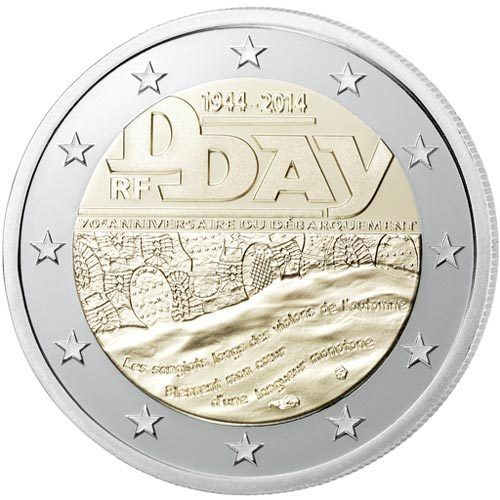 2 Euro Commemorativi Francia 2014 Moneta D-Day