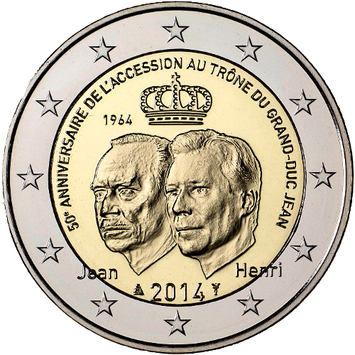 2 Euro Commemorativi Lussemburgo 2014 Moneta Granduca Giovanni