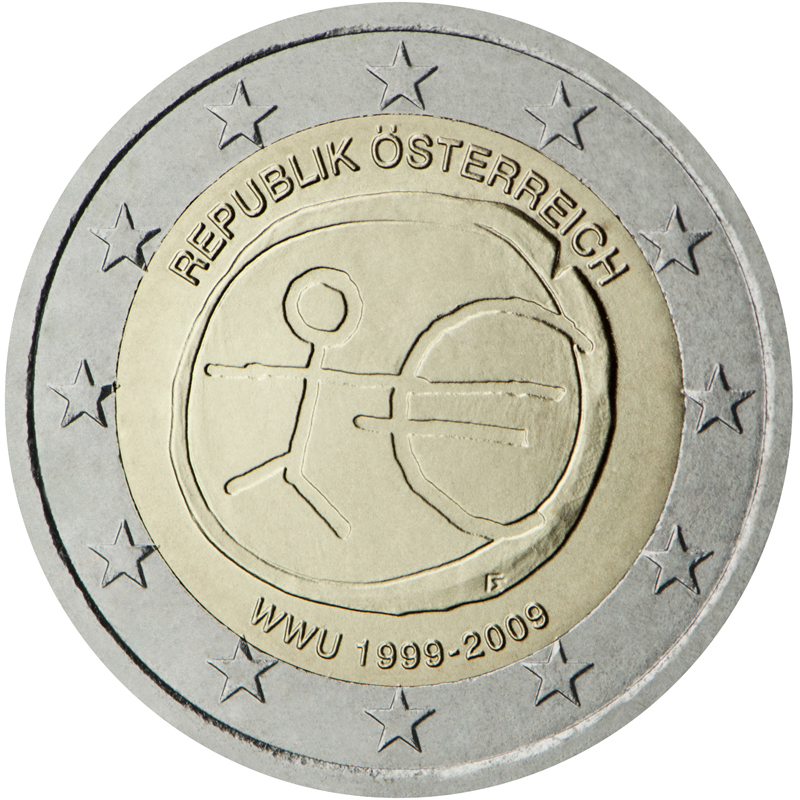 2 euro commemorative coin austria 2009 emu romacoins. Black Bedroom Furniture Sets. Home Design Ideas