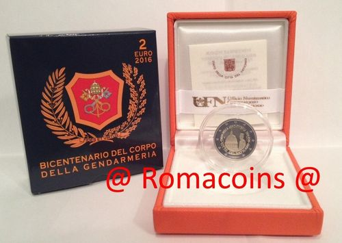 2 Euro Commemorative Coin Vatican 2016 200 Years Gendarmerie