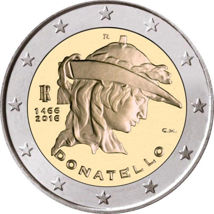 2 euro commemorative coin italy 2016 donatello romacoins. Black Bedroom Furniture Sets. Home Design Ideas