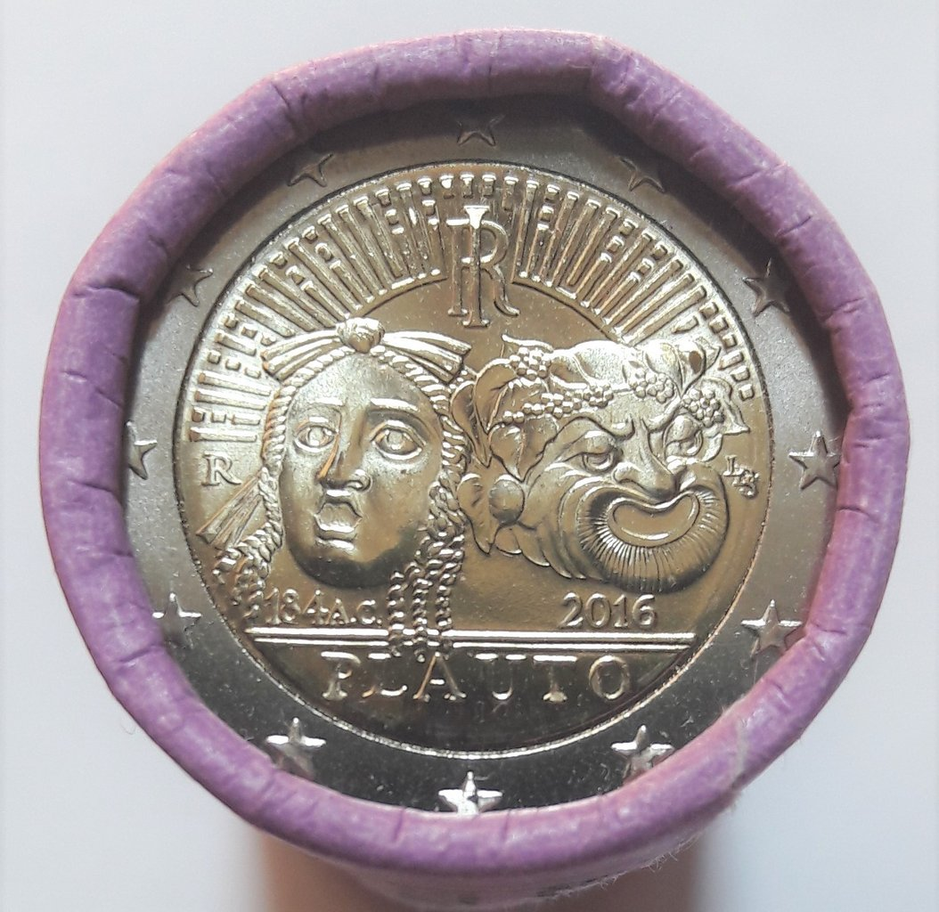 Roll Münzen 2 Euro Italien 2016 Plauto Bankfrisch Romacoins