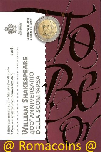 2 Euro Commemorative Coin San Marino 2016 Shakespeare
