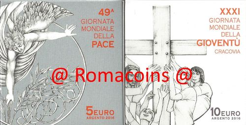 5 + 10 EURO VATICAN 2016 SILVER COINS PROOF