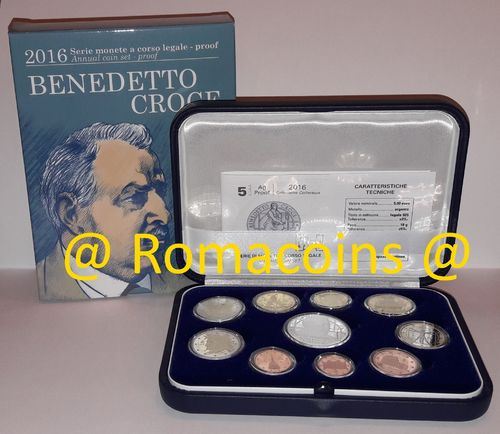 Proof Set Italy 2016 10 Coins 5 Euro Silver Croce