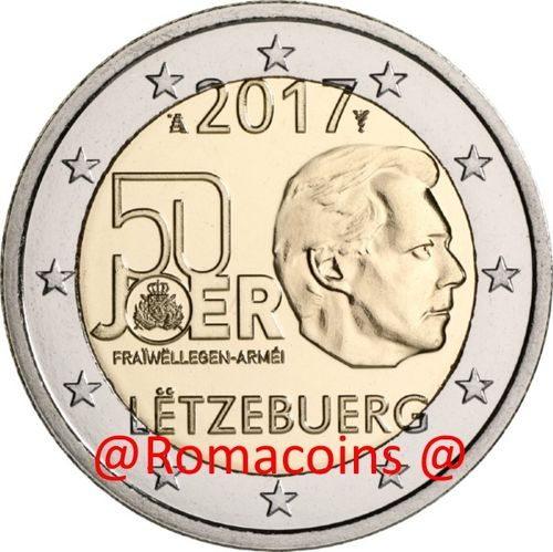2 Euro Commemorative Coin Luxembourg 2017 50 Years Military Service