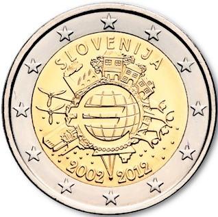 2 euro commemorative coin slovenia 2012 10 years euro romacoin. Black Bedroom Furniture Sets. Home Design Ideas