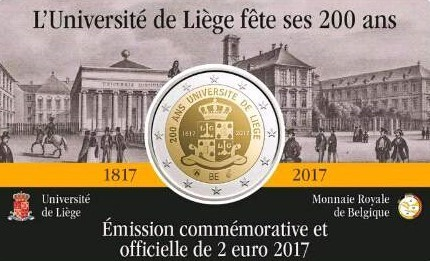 Coincard Belgium 2017 2 Euro 200 Years University of Liege French Language