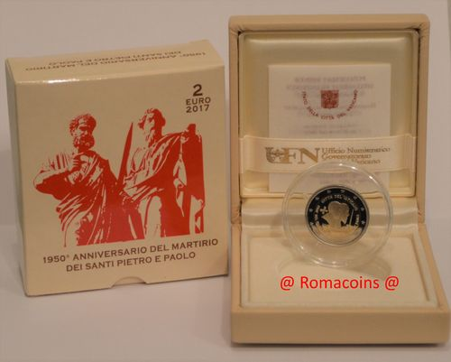 2 Euro Commemorative Coin Vatican 2017 Proof Saints Peter and Paul