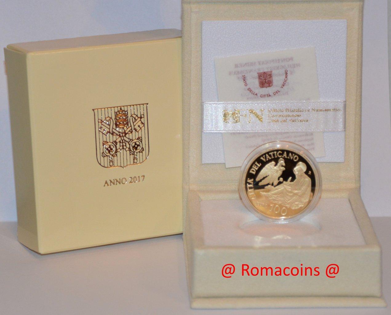100 euros vaticano 2017 moneda oro proof romacoins - Sterlina oro 2017 fondo specchio ...