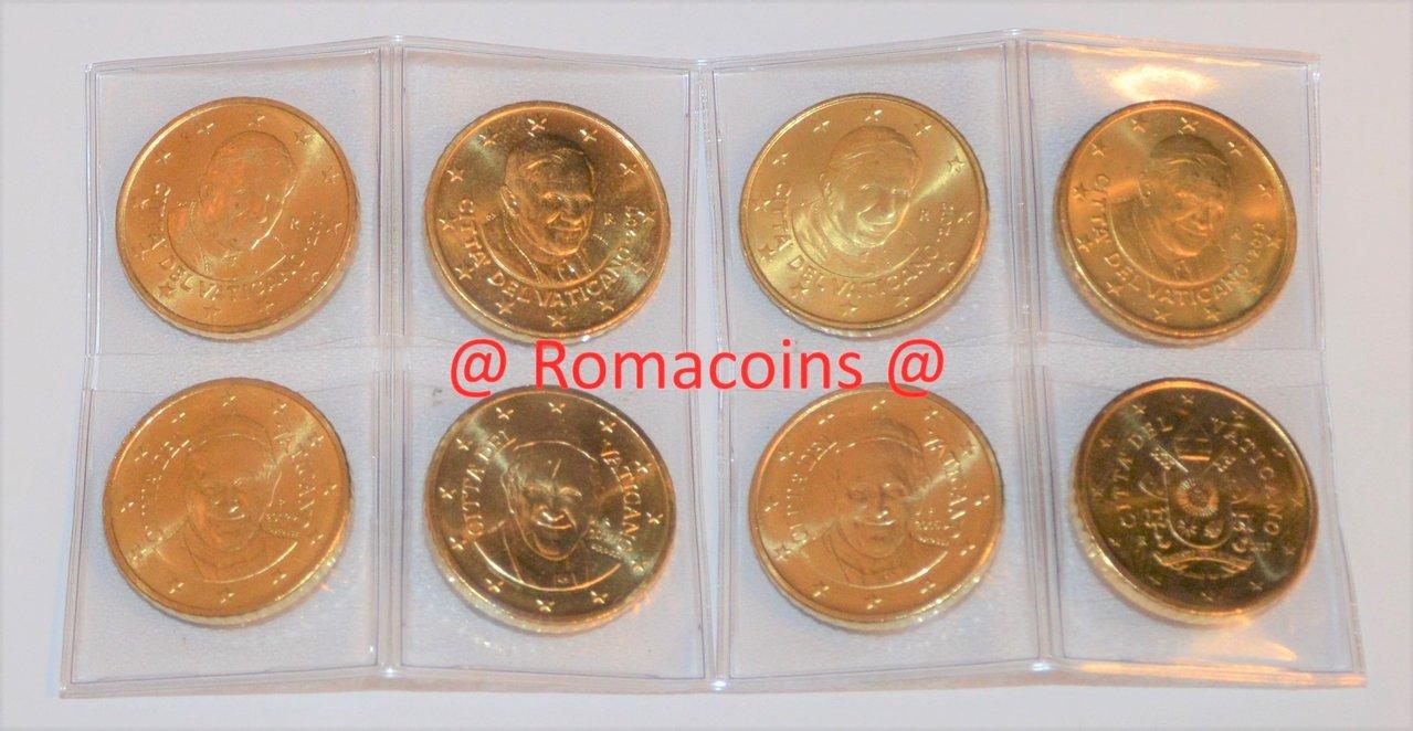Komplettsatz 50 Cent Vatikan 2010 2017 8 Münzen Unc Romacoins