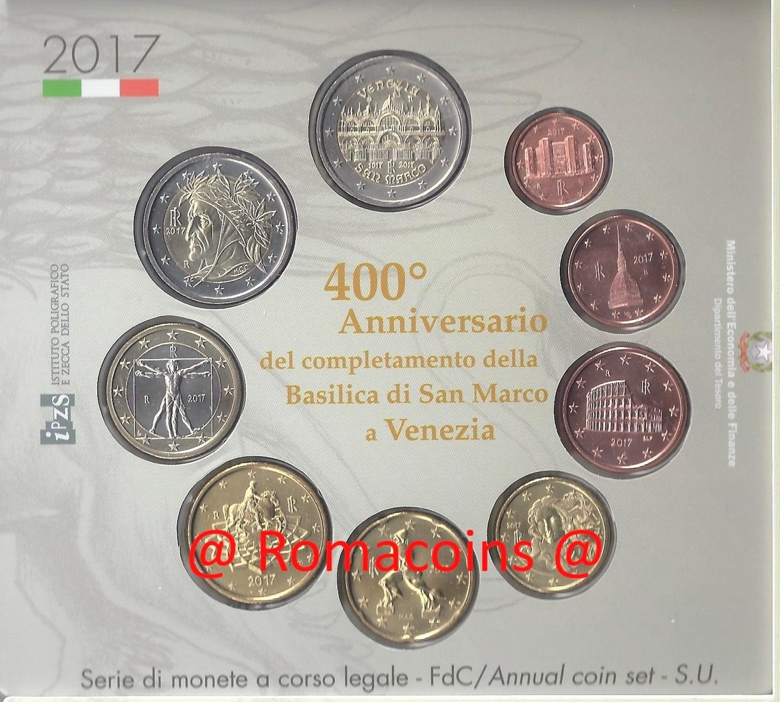 Kms Italien 2017 Kursmünzensatz Stempelglanz San Marco Venezia Ro