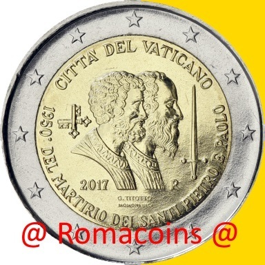 2 Euro Commemorative Vatican 2017 Saint Peter without folder
