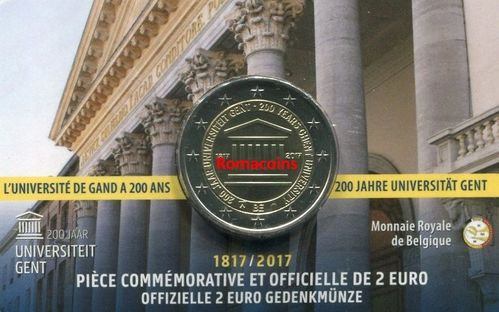 Coincard Belgium 2017 2 Euro 200 Years University of Gent French Language