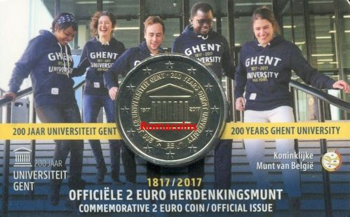 Coincard Belgium 2017 2 Euro 200 Years University of Gent Dutch Language