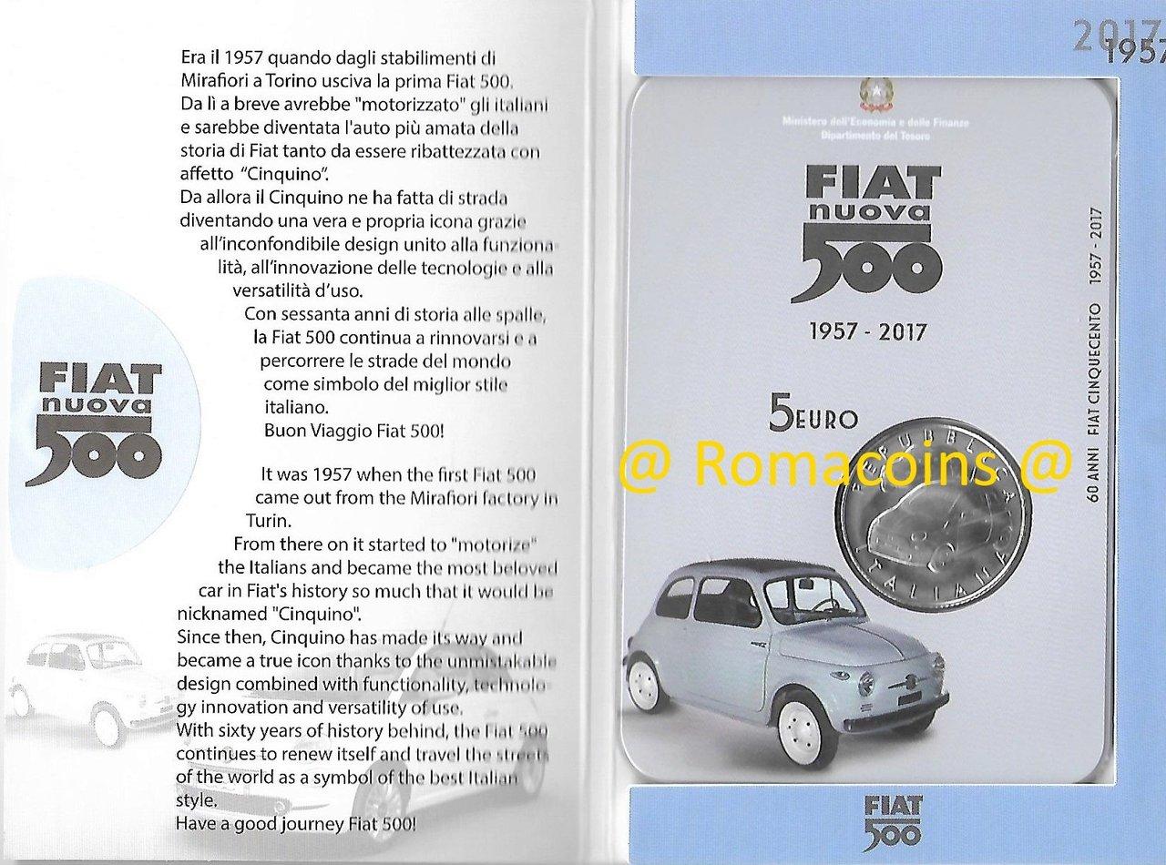 5 Euro Italy 2017 60 Years Fiat 500 Silver Bu