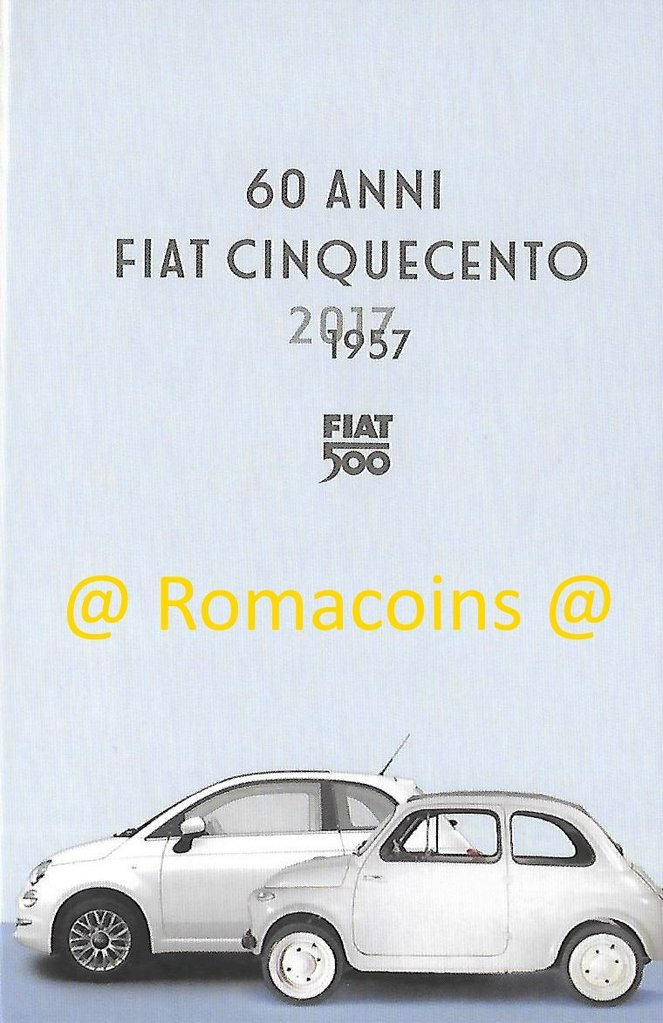 5 euro italia 2017 60 anni fiat 500 argento fdc romacoins. Black Bedroom Furniture Sets. Home Design Ideas