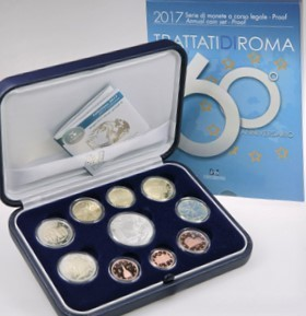 Proof Set Italy 2017 10 Coins 5 Euro Silver