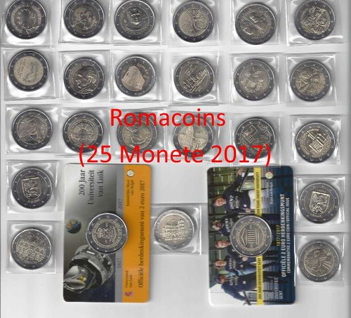 Complete Set 2 Euro Commemorative Coins 2017 25 Coins