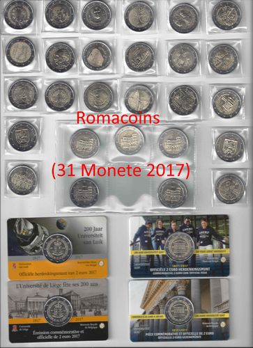 Complete Set 2 Euro Commemorative Coins 2017 31 Coins