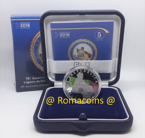 5 Euro Italy 2018 70 Years Constitution Silver Proof