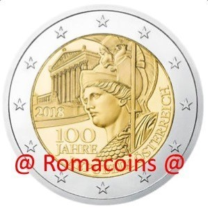 2 Euro Commemorative Coin Austria 2018 100 Years Austrian Republic