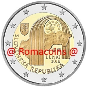 2 Euro Commemorative Coin Slovakia 2018 25 Years Republic