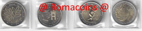 Complete Set 2 Euro Commemorative Coins 2004 4 Coins