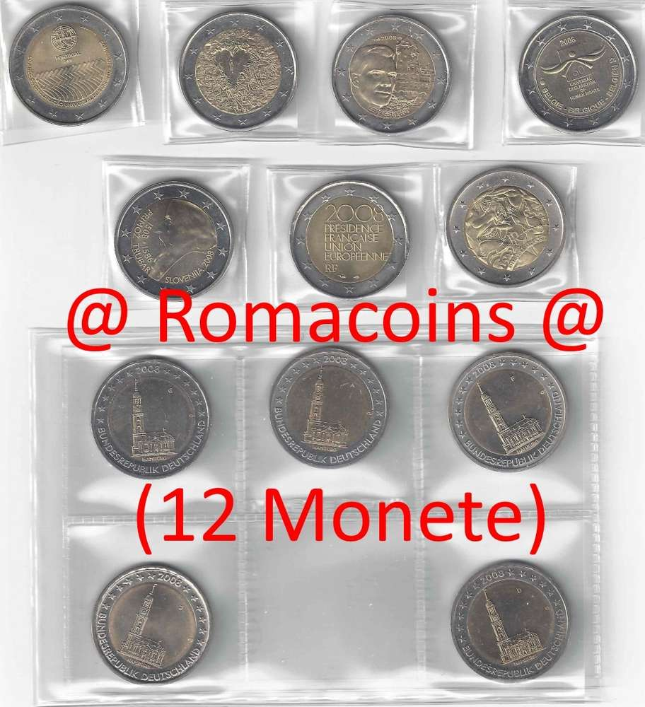 Komplettsatz 2 Euro Sondermünzen 2008 12 Münzen Romacoins