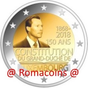 2 Euro Commemorative Coin Luxembourg 2018 150 Years Constitution