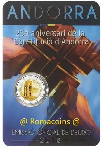 Coincard Andorra 2018 2 Euro 25 Years Constitution of Andorra