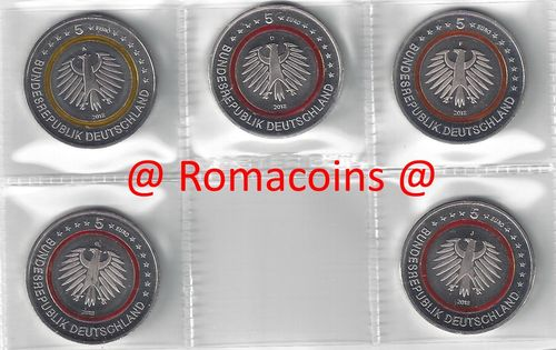 5 Euro Coins Germany 2018 Subtropical Zone 5 Mints ADFGJ