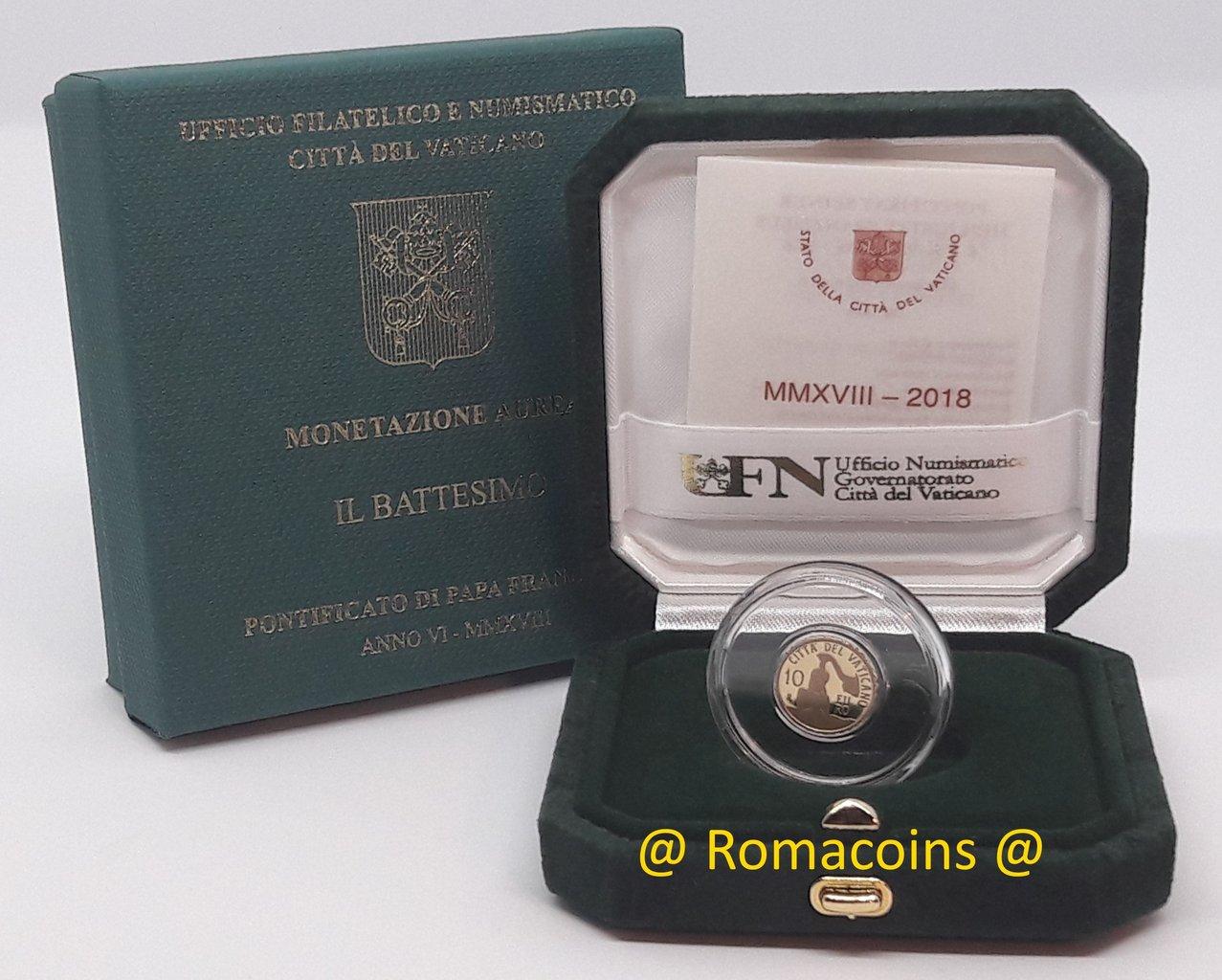 10 euro vaticano 2018 oro fondo specchio proof battesimo romacoin - Sterlina oro 2017 fondo specchio ...