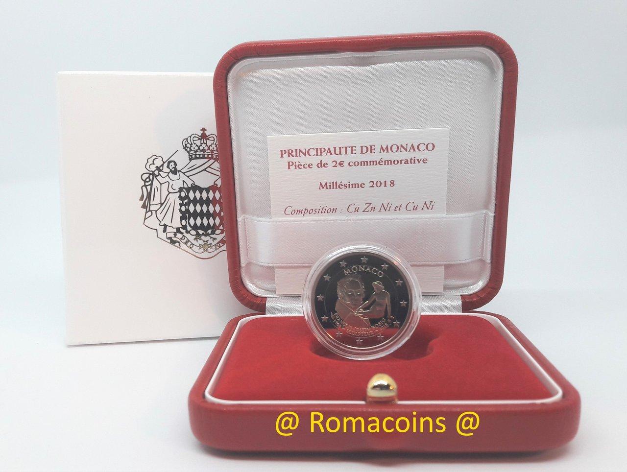 2 Euros Commémorative Monaco 2018 Bosio Be Proof Romacoins