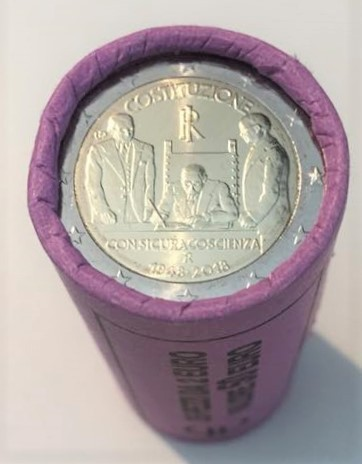 Roll Münzen Italien 2 Euro 2018 70 Jahre Verfassung Romacoins